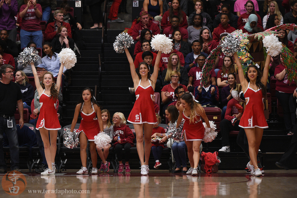 November 17, 2014; Stanford, CA, USA; Stanford Cardinal Dollies dancers (L-R) Martha Collins, Erika Nguyen, Jordan Huelskamp, Aubriana Menendez, and Shelby Mynhier perform during the first half against the Connecticut Huskies at Maples Pavilion. The Cardinal defeated the Huskies 88-86.