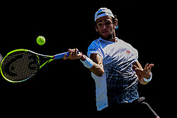 August 21, 2018 - Winston-Salem, NC, U.S. - WINSTON-SALEM, NC - AUGUST 21: Matteo Berrettini (ITA) returns a volley against Nikoloz Basilashvili (GEO) during the Winston-Salem Open on August 21, 2018 at the Wake Forest Tennis Center in Winston-Salem, North Carolina. (Photo by William Howard/Icon Sportswire) (Credit Image: © William Howard/Icon SMI via ZUMA Press)