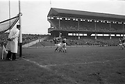 16/10/1966<br /> 10/16/1966<br /> 16 October 1966<br /> Oireachtas Senior Semi-Final: Cork v Wexford at Croke Park, Dublin.<br /> Cork players, J. Bennett (15) and C. Sheelan, clash with Wexford goalie, P. Nolan, and Wexford back, T. Neville.