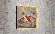A Roman erotic fresco painting from Pompeii,  Naples National Archaeological Museum , form the venereum, a room for sexual activities, of Casa di Cecilio Giocondo 50-79 AD  , inv no 10569 , Secret Museum or Secret Cabinet, .<br /> <br /> If you prefer to buy from our ALAMY PHOTO LIBRARY  Collection visit : https://www.alamy.com/portfolio/paul-williams-funkystock - Scroll down and type - Roman Art Erotic  - into LOWER search box. {TIP - Refine search by adding a background colour as well}.<br /> <br /> Visit our ROMAN ART & HISTORIC SITES PHOTO COLLECTIONS for more photos to download or buy as wall art prints https://funkystock.photoshelter.com/gallery-collection/The-Romans-Art-Artefacts-Antiquities-Historic-Sites-Pictures-Images/C0000r2uLJJo9_s0