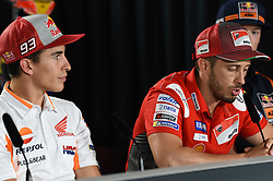 August 9, 2018 - Spielberg, Austria - 93 Spanish driver Marc Marquez of Team Repsol Honda Team and  04 Italian driver Andrea Dovizioso of Team Ducati Racing during official press conference before Austrian GP in Red Bull Ring in Spielberg, Austria, on August 9, 2018. (Credit Image: © Andrea Diodato/NurPhoto via ZUMA Press)