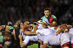 Danny Care of Harlequins looks to put the ball into a scrum - Photo mandatory by-line: Patrick Khachfe/JMP - Mobile: 07966 386802 17/10/2014 - SPORT - RUGBY UNION - London - Twickenham Stoop - Harlequins v Castres Olympique - European Rugby Champions Cup