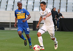 Thabo Nodada and Steven Pienaar in the MTN8 semi-final first leg match between Cape Town City and Bidvest Wits at the Cape Town Stadium on Sunday 27 August 2017.