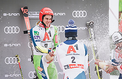19.12.2018, Saalbach Hinterglemm, AUT, FIS Weltcup Ski Alpin, Riesenslalom, Herren, Flower Zeremonie, im Bild 2. Platz Loic Meillard (SUI), Sieger Zan Kranjec (SLO), 3. Platz Mathieu Faivre (FRA) // 2nd placed Loic Meillard of Switzerland Winner Zan Kranjec of Slovenia 3rd placed Mathieu Faivre of France during the Flowers ceremony for the men's Giant Slalom of FIS Ski Alpine World Cup. Saalbach Hinterglemm, Austria on 2018/12/19. EXPA Pictures © 2018, PhotoCredit: EXPA/ JFK
