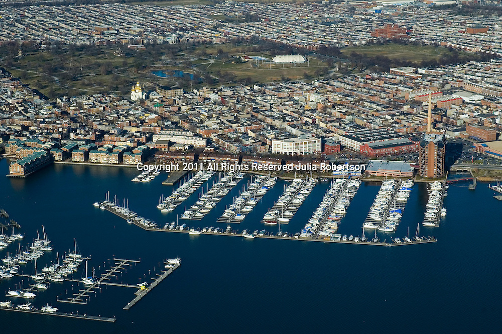 Aerial view of Anchorage marina, Baltimore Inner Harbor, Maryland