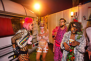 Glastonbury Festival, 2015. Shangri La is a festival of contemporary performing arts held each year within Glastonbury Festival. The theme for the 2015 Shangri La was Protest. <br /> Backstage on the Hell stage.
