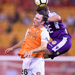 BRISBANE, AUSTRALIA - DECEMBER 21: Nick D'Agostino of the Roar and Shane Lowry of the Glory compete for the ball during the Round 12 Hyundai A-League match between Brisbane Roar and Perth Glory on December 21, 2017 in Brisbane, Australia. (Photo by Patrick Kearney / Brisbane Roar FC)