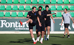 England's Harry Kane (left) and Harry Winks during the training session at Ciudad Deportiva Luis del Sol, Seville.
