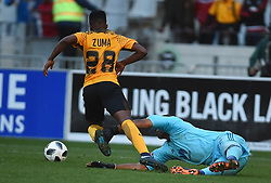 Cape Town-180512   Kaizer Chiefs  striker  Dumisani Zuma blocked by Jody February of Ajax Cape Town in the last game of the PSL at Cape Town stadium.photographer:Phando Jikelo/African News Agency/ANA
