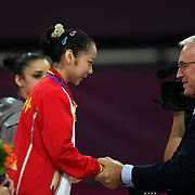 Linlin Deng, China, Gold Medal winner in the Gymnastics Artistic, Women's Apparatus, Beam final at North Greenwich Arena during the London 2012 Olympic games London, UK. 7th August 2012. Photo Tim Clayton