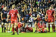 Bill Mata congratulates Pierre Schoeman on scoring try during the Guinness Pro 14 2018_19 match between Edinburgh Rugby and Scarlets at BT Murrayfield Stadium, Edinburgh, Scotland on 2 November 2018.