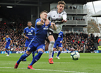 Football - 2018 / 2019 Premier League - Fulham vs. Cardiff City<br /> <br /> Rhys Healey of Cardiff has a penalty appeal tuned down after a challenge from Tom Cairney in the Penalty area, at Craven Cottage.<br /> <br /> COLORSPORT/ANDREW COWIE