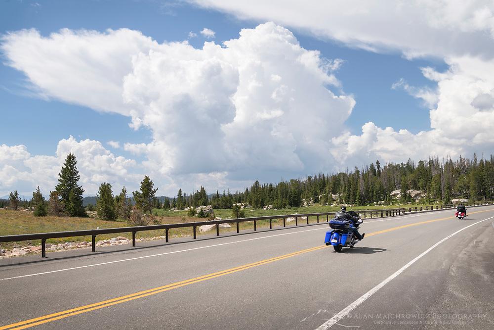 Motorcycls on Beartooth Highway Wyoming