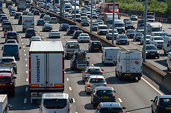 © Licensed to London News Pictures. 23/08/2019. London, UK. The M25 motorway in London experiences heavy traffic as the bank holiday weekend starts. Photo credit: Peter Manning/LNP