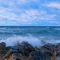 """""""Morning Waves a Crashing""""<br /> <br /> Beautiful strong waves crash against the rocky shores of Lake Michigan in the Upper Peninsula!"""