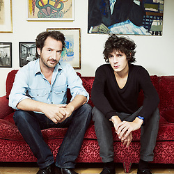 PARIS, FRANCE. SEPTEMBER 12, 2012. French comedian Edouard Baer at home in Paris with actor Vincent Lacoste. Photo: Antoine Doyen