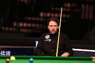 Judd Trump in action during his match against Rory McLeod.  Betvictor Welsh Open snooker 2016, day 2 at the Motorpoint Arena in Cardiff, South Wales on Tuesday 16th Feb 2016.  <br /> pic by Andrew Orchard, Andrew Orchard sports photography.