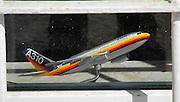 Berlin-Grünau. GERMANY.  Model plane A310 traverl agents window.  Regattastrasse,  Frühregatta Saturday 30/04/2011 [Mandatory Credit; Peter Spurrier/Intersport-images]