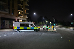 © Licensed to London News Pictures. 19/09/2021. London, UK. Police maintain a cordon on Kidbrooke Park Road in Greenwich following a call at 17:32BST on Saturday 18/09/2021 to Cator Park where the body of a female was found near the community centre. A man was arrested several hours later at approximately 21:20BST at an address in Lewisham on suspicion of murder and was taken into custody at a south London police station. Photo credit: Peter Manning/LNP