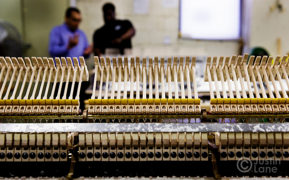 A view of the action frame of a piano in production at the Steinway and Sons piano production facility in Astoria, New York, USA, 04 April 2016. Each piano at the factory is built and assembled by hand, a process the company has been refining since being founded in 1853 in New York. In the late 1800s, there were hundreds of piano manufacturers in the United States, but Steinway and Sons is now one of only a few companies still making the instrument.