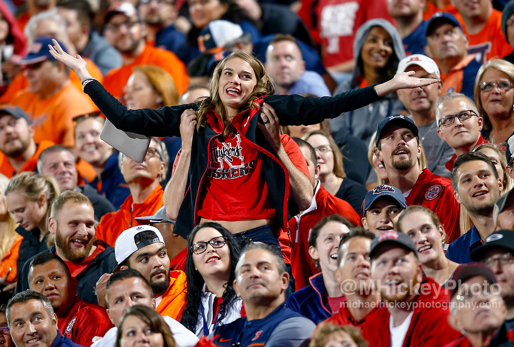 CHAMPAIGN, IL - SEPTEMBER 29: A Nebraska Cornhuskers fan tries to get the attention of scoreboard cameras during the game against the Illinois Fighting Illini at Memorial Stadium on September 29, 2017 in Champaign, Illinois. (Photo by Michael Hickey/Getty Images)