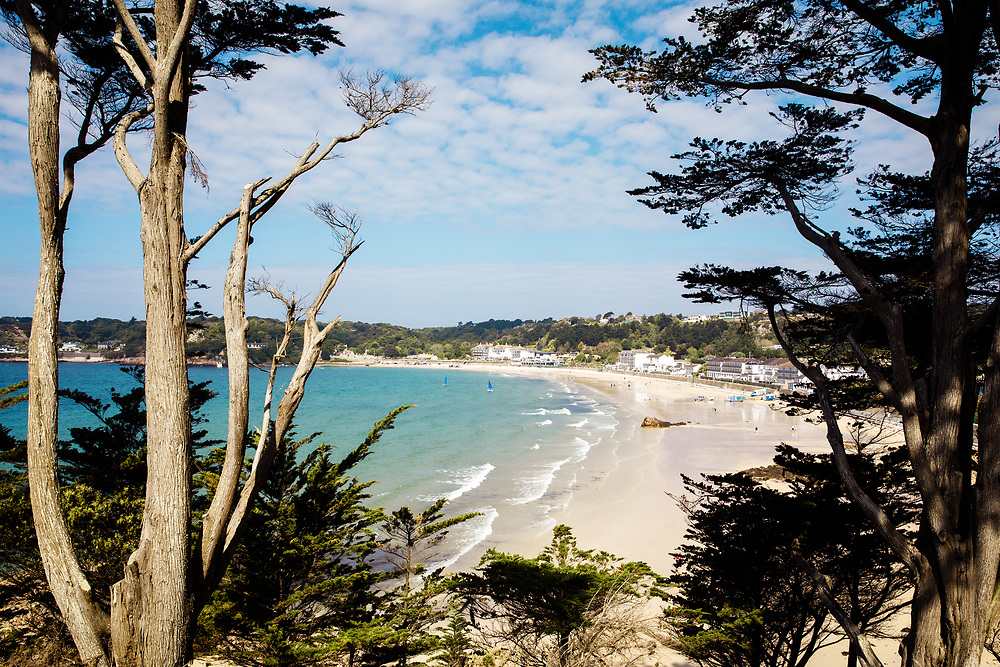 View of St Brelade's beach, a popular bay with tourists on the south coast of Jersey