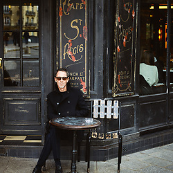 Martin Grant, fashion designer, having a tea at the Cafe Saint-Regis. Paris, France. January 3, 2019. <br /> Martin Grant, designer de mode, pose dans son showroom. Paris, France. 3 janvier 2019.