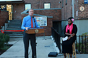 BROOKLYN, NEW YORK: NOVEMBER 6, 2020- (L-R) New York City Mayor Bill De Blasio, Tahirah Moore, New York City Mayor's Office along with New York City Council Member Robert Cornergy, U.S. Congress Nydia Velázquez, Actor Tracey Morgan and others attend the official ribbon cutting ceremony opening the new New York City Housing Authority (NYCHA) Marcy Houses Community Center on November 6, 2020 in the Bedford Stuyvesant section of Brooklyn, New York City.   Photo by Terrence Jennings/terrencejennings.com