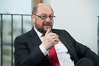 22 FEB 2016, BERLIN/GERMANY:<br /> Martin Schulz, SPD, Praesident des Europaeischen Parlamentes, waehrend einem Interview, Spiegel Hauptstadtbuero<br /> IMAGE: 20160222-01-033