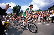 Christophe Moreau, Credit Agricole, sprints towards the end of the stage.