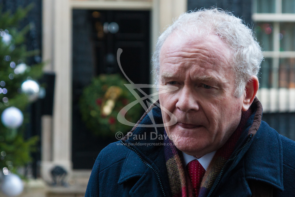 London, December 15th 2014. Northern Ireland's first and deputy first ministers join Scottish and Welsh leaders for Joint Ministerial Committee talks with David Cameron in Downing Street. The talks come three days after Cameron's offer of a financial package for the Northern Ireland Executive was rejected by Stormont. PICTURED: Martin McGuinness talks to the media.