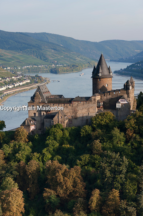 View of Burg castle Stahleck in Bacharach village on Romantic River Rhine in Germany