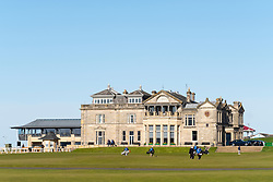Exterior view of the club house of The Royal and Ancient Golf Club (R&A) Old Course in St Andrews, Fife, Scotland, UK.