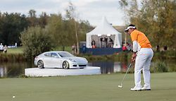 27.09.2015, Beckenbauer Golf Course, Bad Griesbach, GER, PGA European Tour, Porsche European Open, im Bild der entscheidende Putt von Sieger Thongchai Jaidee (THA) // the winning putt from Winner Thongchai Jaidee (THA) during the European Tour, Porsche European Open Golf Tournament at the Beckenbauer Golf Course in Bad Griesbach, Germany on 2015/09/27. EXPA Pictures © 2015, PhotoCredit: EXPA/ JFK