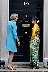 © Licensed to London News Pictures. 13/09/2016. London, UK. State Counsellor of Myanmar AUNG SAN SUU KYI meets Prime Minister THERESA MAY in Downing Street, London on 13 September 2016. Photo credit: Tolga Akmen/LNP