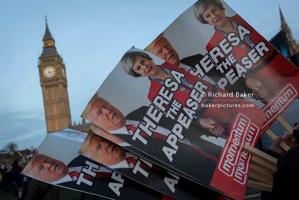 """As the British government debated US President Donald Trump's state visit to the UK, thousands of protesters gathered in large numbers against the trip which would potentially cost millions of Pounds in security alone. The visit comes after two online petitions received more than the 100,000 signatures required for such a debate to be considered in Parliament. A petition against the state visit got 1.85m signatures, while one supporting it got 311,000. Campaigners protested against the """"hatred, racism and division that Donald Trump is trying to create"""". Prime Minister Theresa May announced the state visit during her visit to Washington in January."""