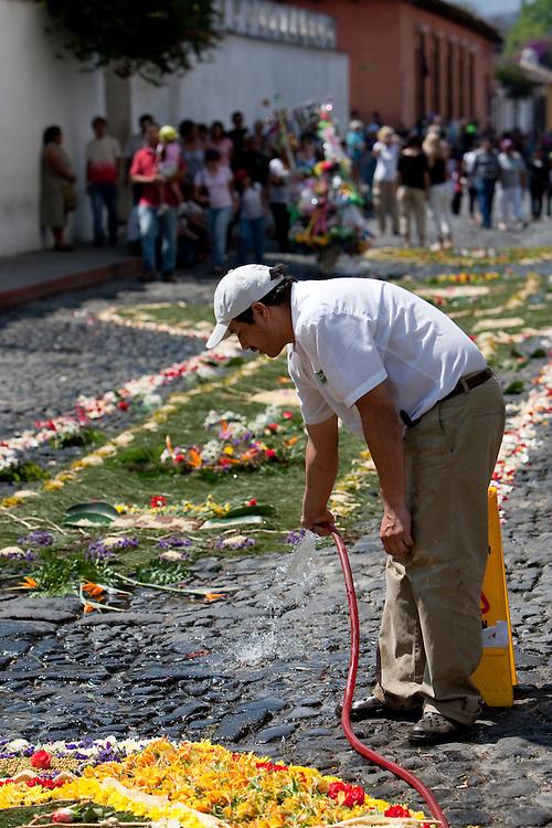During Catholic religous festival Semana Santa, with parades and cspets of flowers