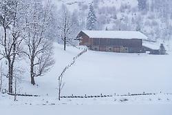 THEMENBILD - ein Bauernhaus in der winterlichen Landschaft, aufgenommen am 3. Februar 2018 in Kaprun, Österreich // a farmhouse in the winter landscape in Kaprun, Austria on 2018/02/03. EXPA Pictures © 2018, PhotoCredit: EXPA/ JFK