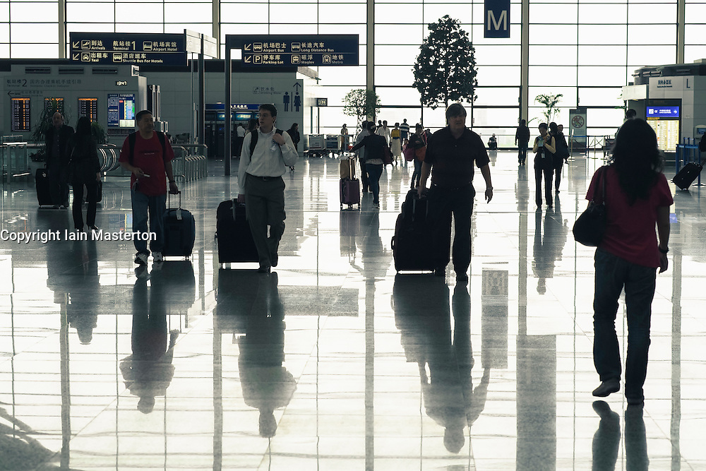 Interior of Terminal 2 at Pudong International Airport in Shanghai China