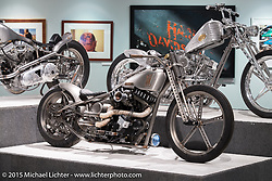 "Pat Patterson's custom Sportster in Michael Lichter's Motorcycles as Art annual exhibition titled ""The Naked Truth"" at the Buffalo Chip Gallery during the 75th Annual Sturgis Black Hills Motorcycle Rally.  SD, USA.  August 4, 2015.  Photography ©2015 Michael Lichter."