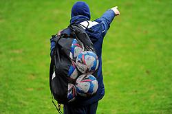 Groundsmen collect the balls prior to kick-off - Mandatory by-line: Nizaam Jones/JMP - 20/02/2021 - FOOTBALL - Jonny-Rocks Stadium - Cheltenham, England - Cheltenham Town v Bradford City - Sky Bet League Two