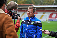 Forest Green Rovers manager, Mark Cooper interviewed before kick off during the EFL Sky Bet League 2 match between Stevenage and Forest Green Rovers at the Lamex Stadium, Stevenage, England on 21 October 2017. Photo by Adam Rivers.