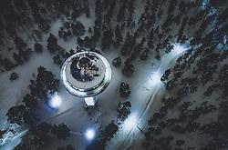THEMENBILD - der beleuchtet Wasserturm im Winter mit Schnee bedeckt, in der Landschaft aufgenommen am 08. Februar 2019 in Lahti, Finnland // the illuminated water tower in winter covered with snow, in the countryside, Lahti, Finland on 2019/02/08. EXPA Pictures © 2019, PhotoCredit: EXPA/ JFK