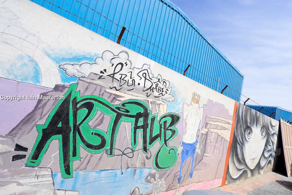 Exterior grafitti at  Abu Dhabi Art Hub in Abu Dhabi United Arab Emirates