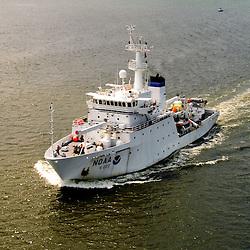 Aerial view NOAA Vessel Little Hales, NOAA Ship Thomas Jefferson is a hydrographic survey vessel