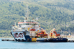 13 April 2016: Rescue boat by the port dock in Samos, Greece, circulating the island several times daily to help refugees who come to the Greek islands by boat across the Mediterranean Sea arrive at the shore. When on land, a closed refugee camp, so-called hotspot, awaits them before they can be registered, seek asylmu, and be transferred to another European country for resettlement.