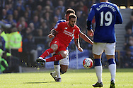Danny Ings of Liverpool is tackled by Tyias Browning of Everton. Barclays Premier League match, Everton v Liverpool at Goodison Park in Liverpool on Sunday 4th October 2015.<br /> pic by Chris Stading, Andrew Orchard sports photography.