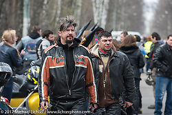 After a parade of 1,000 bikes from Prospekt Sakharova in Moscow arrived at the Motor Spring and Custom and Tuning Show in Moscow, Russia. Saturday April 22, 2017. Photography ©2017 Michael Lichter.