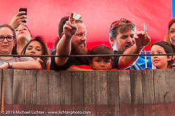 Spectators having a great time at the American Motordrome Wall of Death on Sunday at the Handbuilt Motorcycle Show. Austin, TX. April 12, 2015.  Photography ©2015 Michael Lichter.