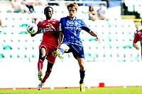 Fotball , Adeccoligaen , 1. Divisjon menn ,  Fredag 6. juli 2013 , Nadderud Stadion ,<br /> Stabæk - Vard Haugesund<br /> Mads Stokkelien - Stabæk <br /> Ahyee Aye Elvis - Vard<br /> Foto: Sjur Stølen